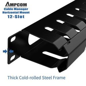 Image 5 - AMPCOM 1U Кабельное управление, горизонтальное Крепление, 19 дюймовая серверная стойка, 12/24 слотов, металлический органайзер для проводов с крышкой