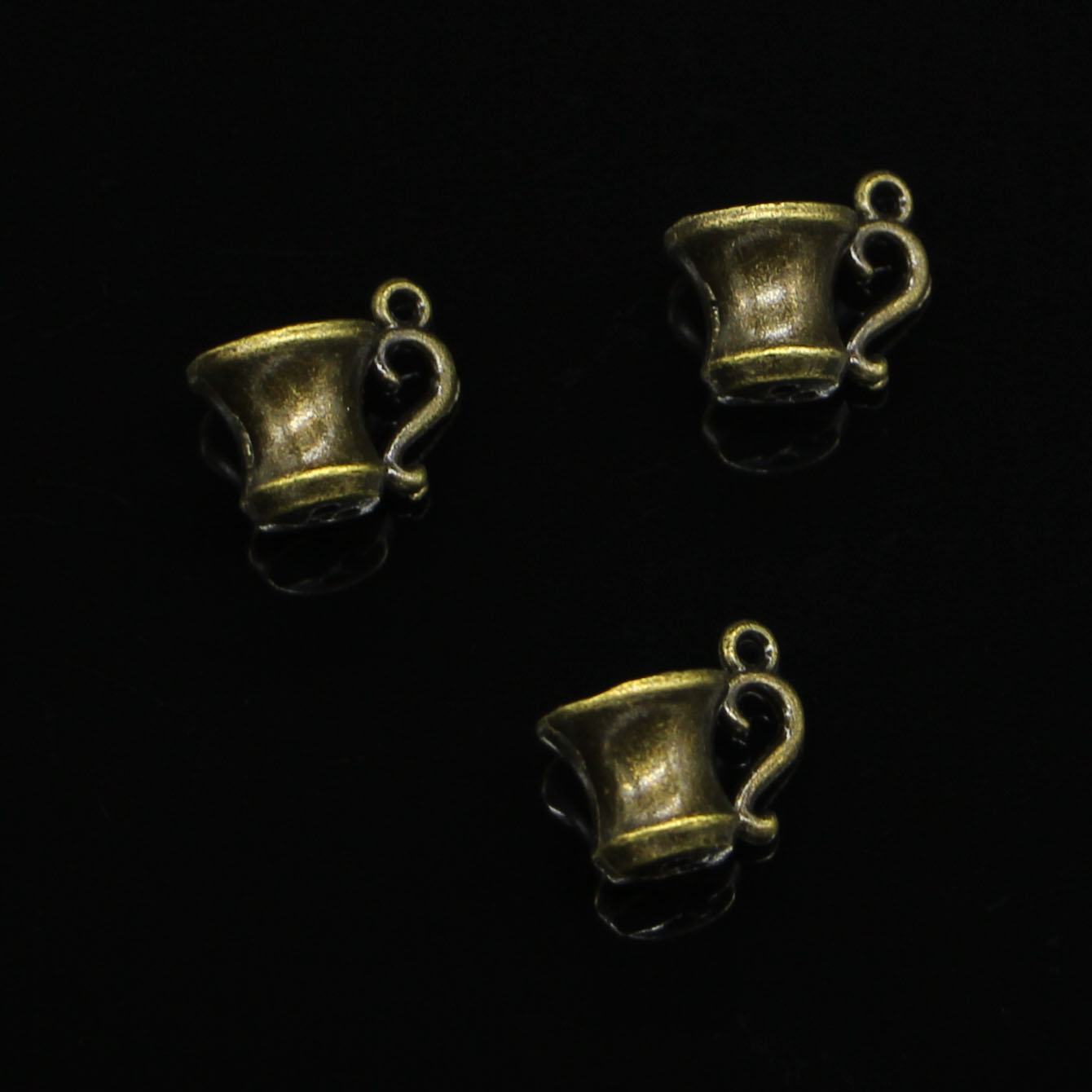 60pcs Antique Bronze Plated 3D teacup Charms for Jewelry Making DIY Handmade Pendants 10*15mm