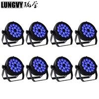Darmowa wysyłka 8 sztuk/partia 18x18 w RGBWA UV 6in1 kryty LED lampa PAR DMX512 profesjonalny etap Dj oświetlenie w Oświetlenie sceniczne od Lampy i oświetlenie na