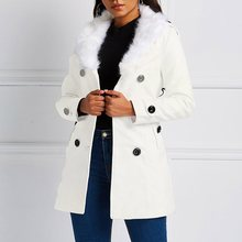 Winter Casual 2019 White Vintage Plus Size Women Overcoats Yellow Slim Button Plain Lace Up Office Ladies Outwear Female Coats
