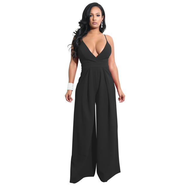 ac5d467cab0 Women Romper Sleeveless Wide Leg Jumpsuit Amazon v-neck Sexy Jumpsuit  Rompers Playsuit Backless Jumpsuits