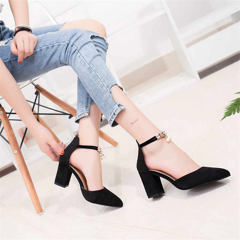 New Women Pumps Summer Fashion Sexy Pointed Toe Wedding Party High Heeled Shoes Woman Pearl Sandals Zapatos Mujer a02
