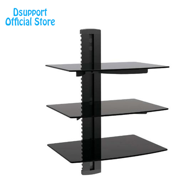 Black 3 Floating Shelf with Strengthened Tempered Glass for DVD Players/Cable Boxes/Games Consoles/TV Accessories 3 Shelf