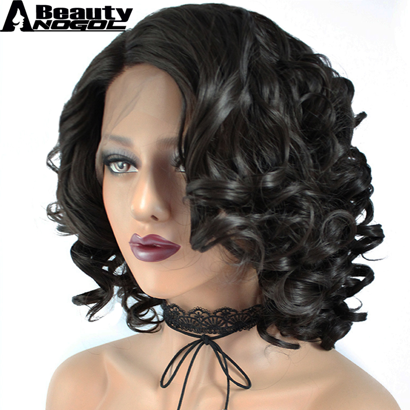 ANOGOL BEAUTY High Temperature Fiber Peruca Full Short Body Wave Wigs Dark Brown Bob Synthetic Lace Front Wig For Black Women