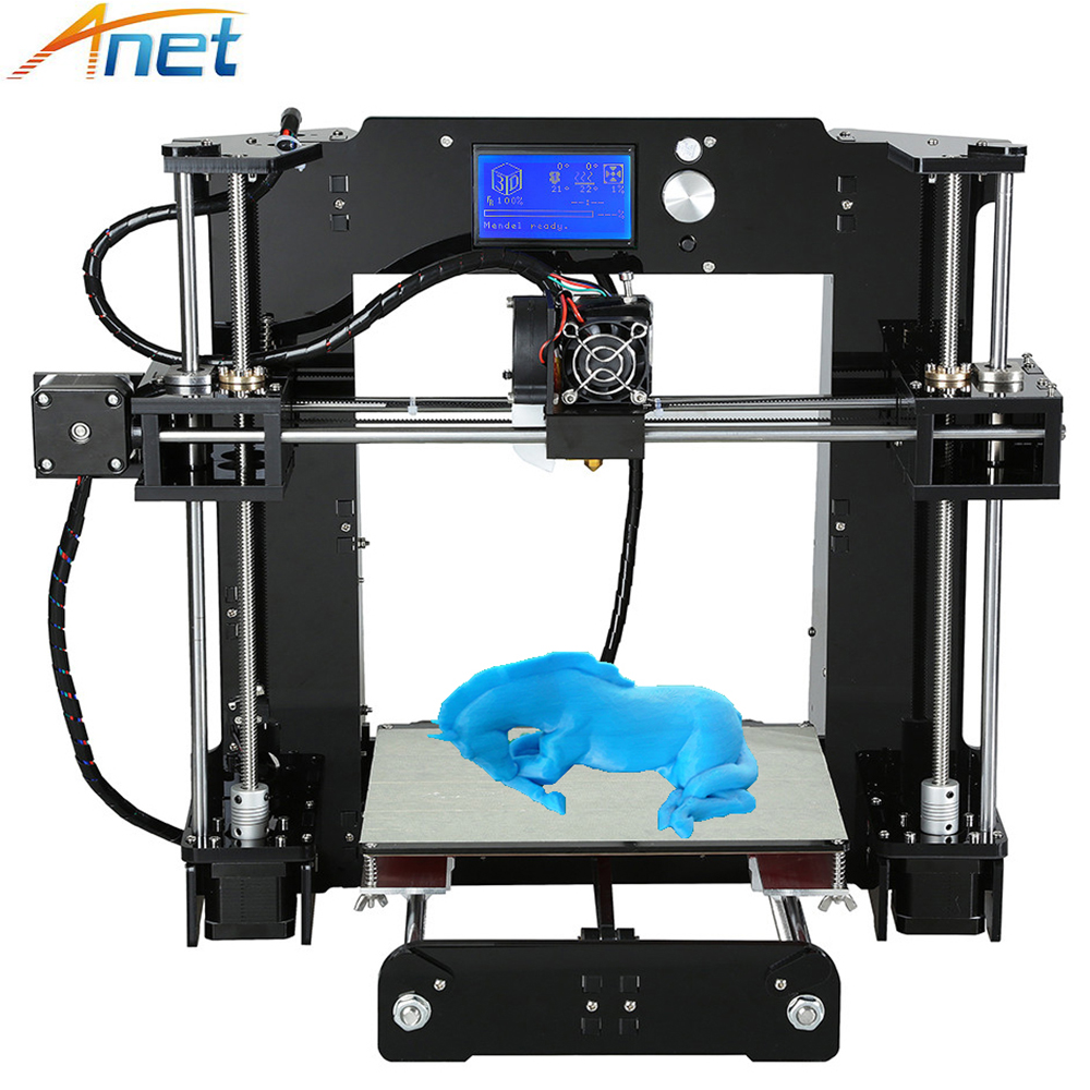 Easy Assemble Anet A6 A8 3D Printer Kit High Precision Reprap i3 DIY 3D Printing Machine+ Hotbed+Filament+SD Card+LCD  high precision reprap prusa i3 3d printer diy kit bowden extruder easy leveling acrylic lcd free shipping sd card filament tool
