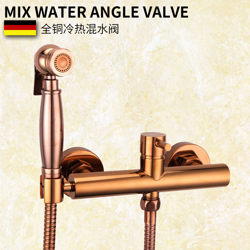 Rose gold copper,washer irrigator hot and cold water European toilet cleaners suit gun nozzle