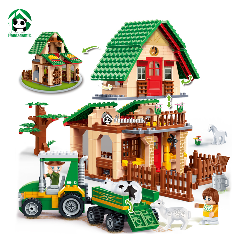 Happy Farm Building Blocks 541 Pcs 4 Toy Figures Educational Constructor Set Girls Kids Toys Compatible with lepin Bricks free shipping happy farm set 1 diy enlighten block bricks compatible with other assembles particles