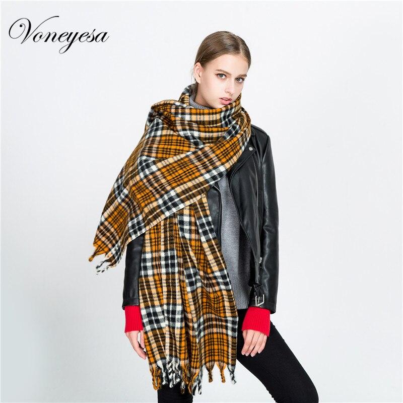 Voneyesa 2017 Новинка зимы плед пашмины шарф Лидер продаж Европейский модные женские туфли Шарфы для женщин шаль классический плед одеяло roz1734 1142