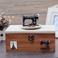 1 Set Vintage Wooden Music Box Retro Sewing Machine On Paper Wood Jewelry Box Craft Hand