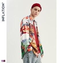 INFLATION Мужская рубашка с забавным мультипликационным цифровым принтом, уличная одежда с длинным рукавом, рубашки 2020 AW новые мужские рубашки 92142W
