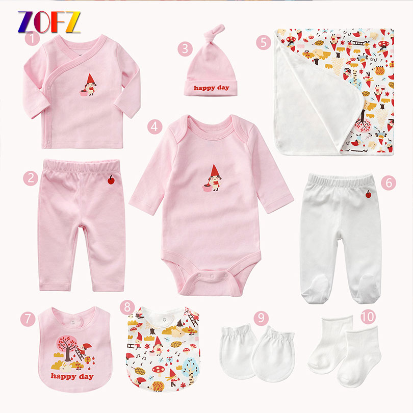 ZOFZ 10pcs/set Baby Clothing Newborn Baby Long Sleeve Romper Pants Hats Cotton Girls Boys Clothes Cute Infant Bebies Underwear newborn baby boys clothing sets baby girls clothes cartoon aircraft blue whale short sleeve infant cotton underwear 2pcs set