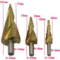 Triángulo de la barrena de perforación, Triangular vástago de la broca espiral groove step triangular pagoda multifuncional 4-32,4-20,4-12 hss acero 4241