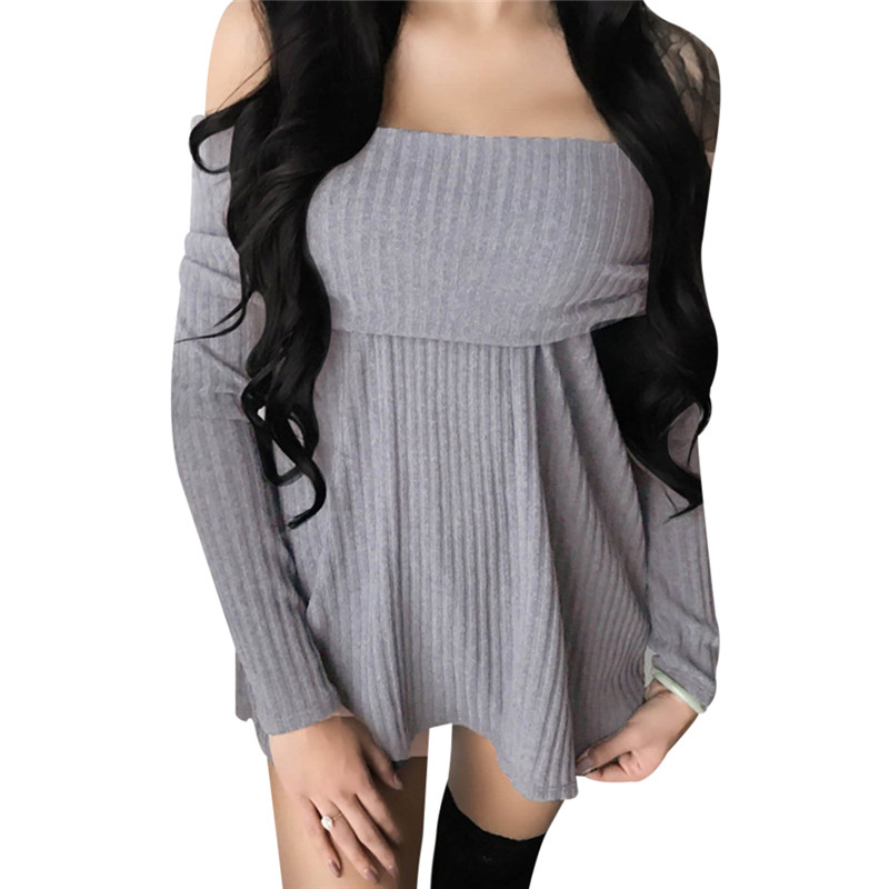 Off Shoulder Ladies Sweater Dresses Cotton Knitted 2018 Summer Womens Mini Dresses Long Sleeve Party Dress Robe Longue Femme round neck ladies sweater dresses cotton knitted 2018 summer womens mini dresses long sleeve party dress robe longue femme q1