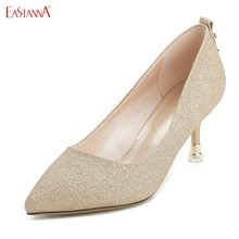 EASTANNA  Fine with rhinestone matte sleeve mouth pointed women pumps christian shoes wedding heels platform bigtree red bottom