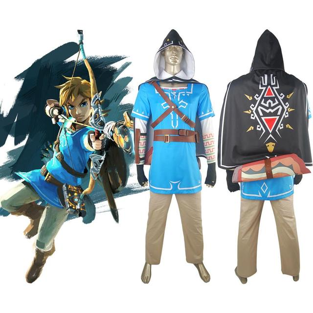 Us 99 0 The Legend Of Zelda Breath Of The Wild Link Outfit Uniform With Cape Halloween Cosplay Costume Comic Con Men In Game Costumes From Novelty