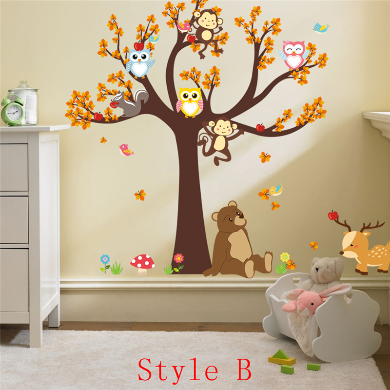 Cartoon Bear Monkey Owls Tree Wall Stickers For Kids Room Decoration Home Decals  Nursery Safari Mural Art Posters Children Gift In Wall Stickers From Home  ... Part 47