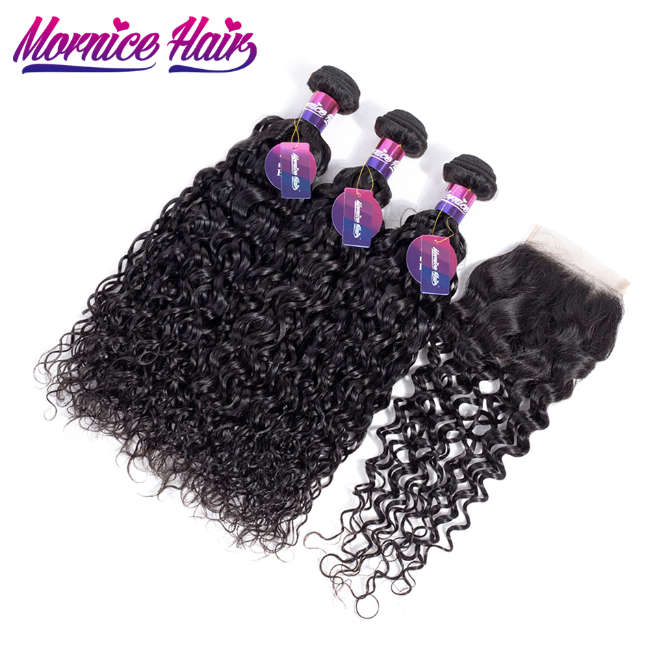 Mornice Water Wave Bundles With Closure Malaysian Hair Natural Color 3 Bundles With Closure Human Hair Extension Non Remy Hair