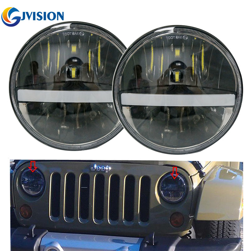 7 inch DRL & Turning Signal LED Headlight Headlamp 30W hi/Lo beam 7'' Truck headlights for Jeep Wrangler JK Land Rover Defender 1pc car headlight 7 inch 75w car led headlight hi lo beam drl for jeep wrangler jk round motorcycle led headlamp