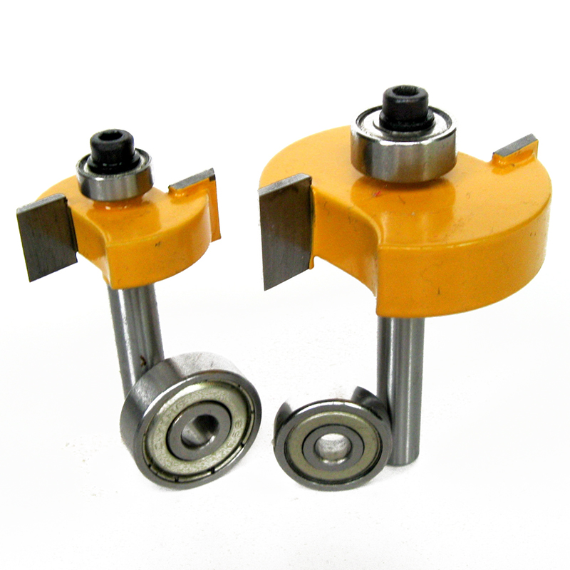 2pcs 1/4 Shank Router Bit 1/2 3/8 Height Rabbet & Slot Router Bit with 2pcs Bearings Set For Woodworking Tool удочка sharp 1 8 2 1 2 4