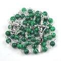 Fashion green peak quality bead catholic rosary necklace