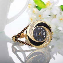 Rhinestone Whirlwind Bracelet Bangle Quartz Watch