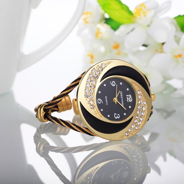 2017 Brand Rhinestone  Metal Weave Clock