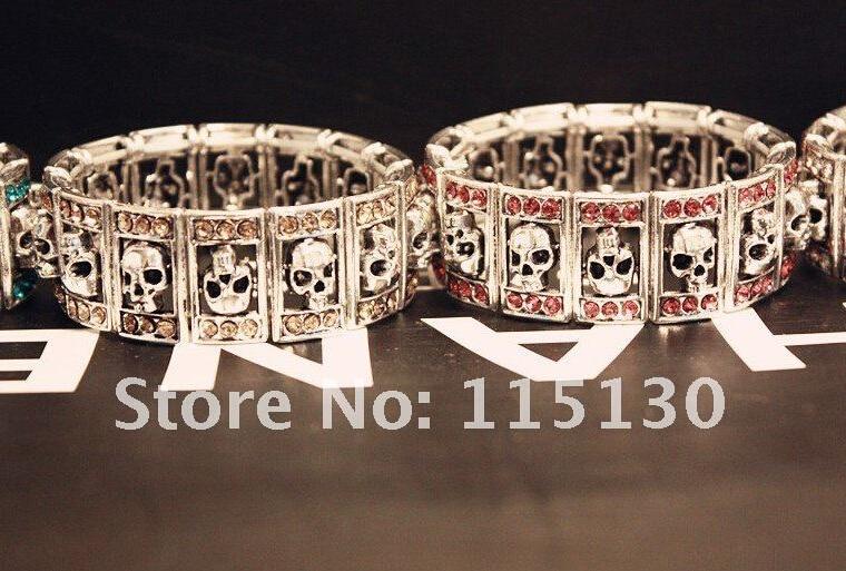 New Gothic Punk Skull Kristal Gelang & Gelang Melar Lebar Cuff Skull - Perhiasan fashion - Foto 5