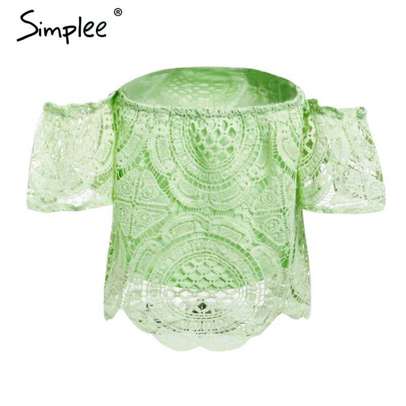 Simplee Off Shoulder Sexy Kant Crop Top Vrouwen Hollow Out Witte Blouse Shirt 2018 Elegante Flare Mouw Camis Zomer Strand tank