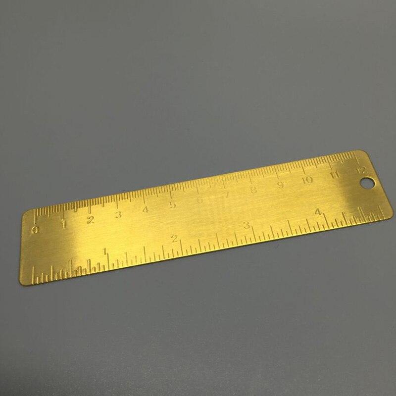 1 Pcs Mimi Vintage Brass Handy Straight Ruler School Copper Metal Bookmark EDC Tools 13cm Length