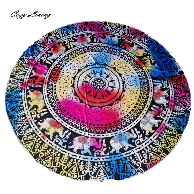 Table Cloth Round 1 PC Beach Pool Home Shower Towel Blanket Table Cloth Yoga Mat 150CM Elephant Tablecloth Wholesale JA4