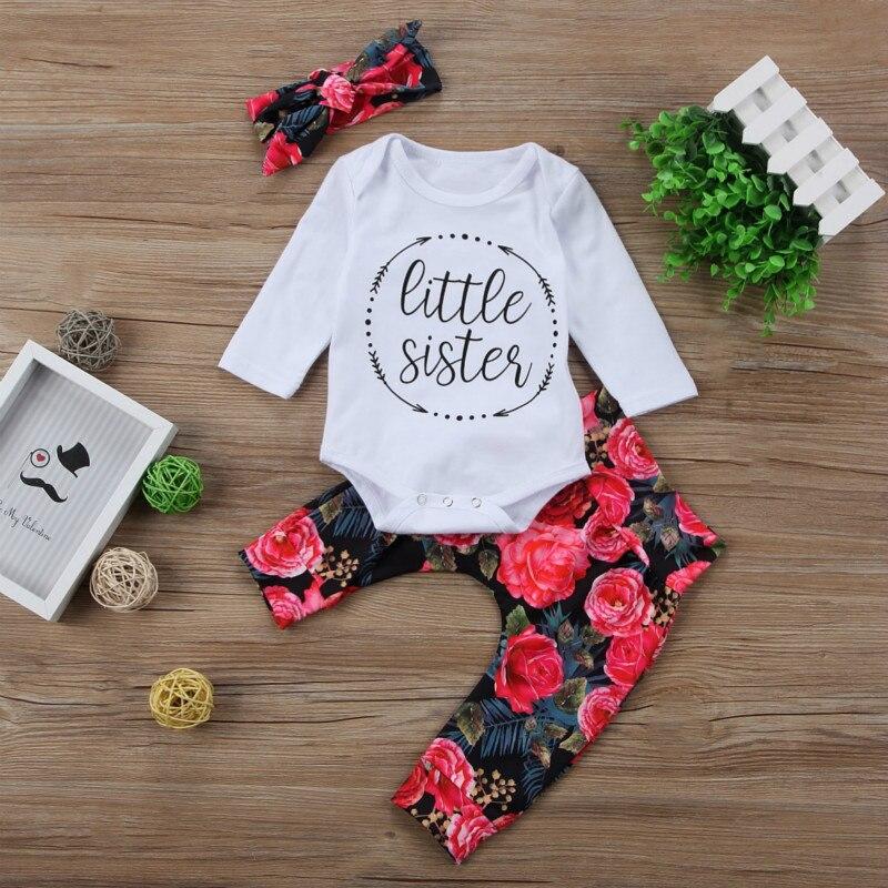 d3efa66e0 Little Sister Newborn Baby Girl Clothes Long Sleeve Cotton Romper Bodysuit  Floral Pant Trouser Hat 3PCS Outfit Kids Clothing Set Tags: