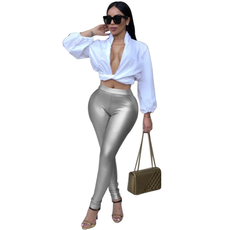 New Fashion Women's Sexy Gold Shine Sequins Pants Pencil Pants Sequins Solid Leggings Bing Stretchy Slim Leggings