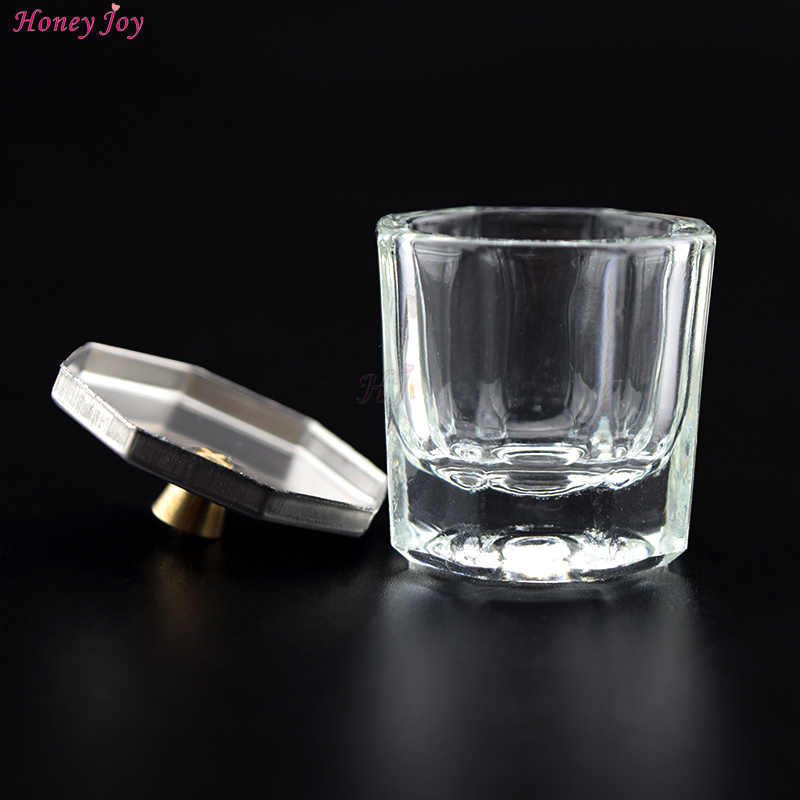 Acrylic Liquid Glass Cup + anti-vervluchtiging Metal Octagon Cap Acrylpoeder Crystal Glass Cup Deksel Kom voor Acryl Nail Art