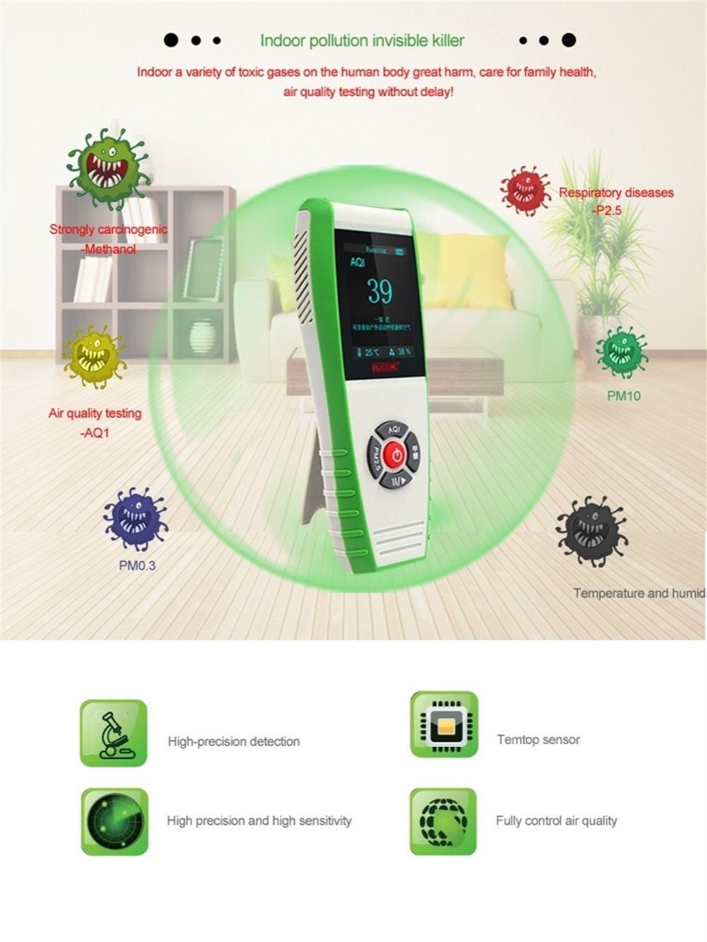 Indoor Air Quality Monitor 7-in-1 Digital Temperature Humidity Tester Meter PM2.5 PM0.3 PM10 AQI Formaldehyde Gas Detector