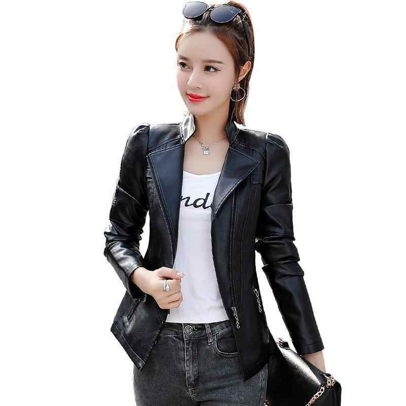 Moto Jacket 2018 New Women Slim Plus Size 5xl 6xl Black Leather Coat Ladies Spring Autumn Pink Biker Jakcets Casaco Feminino