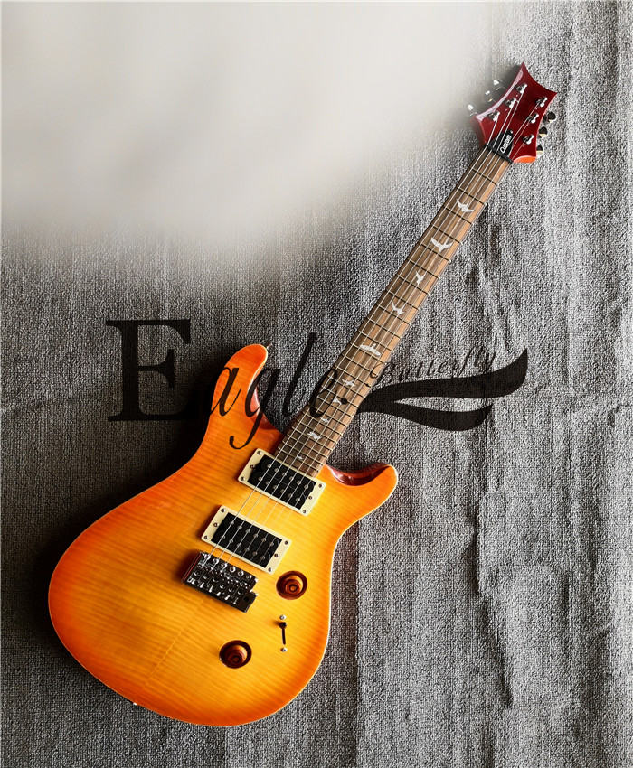 Eagle. Butterfly electric guitar,  bass Custom shop PS orange 24 CUSTOM small Twin Flame Maple veneer electric guitar in stockEagle. Butterfly electric guitar,  bass Custom shop PS orange 24 CUSTOM small Twin Flame Maple veneer electric guitar in stock