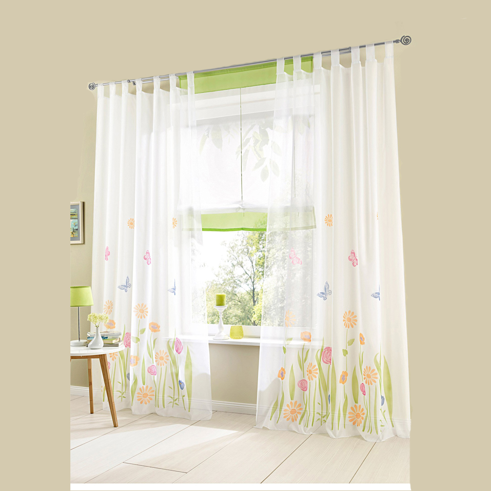 Summer Breeze Butterfly Rose Printing Floral Voile Tulle Sitting Living Room Decorative Window Curtains Tab Top