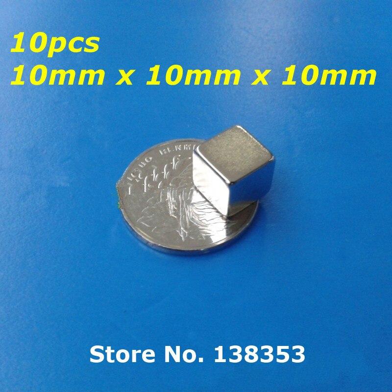 10 шт. Bulk Супер Неодимовым Квадратный Блок Магниты 10 мм х 10 мм х 10 мм N35 Редкоземельных NdFeB Кубом Постоянного Магнита