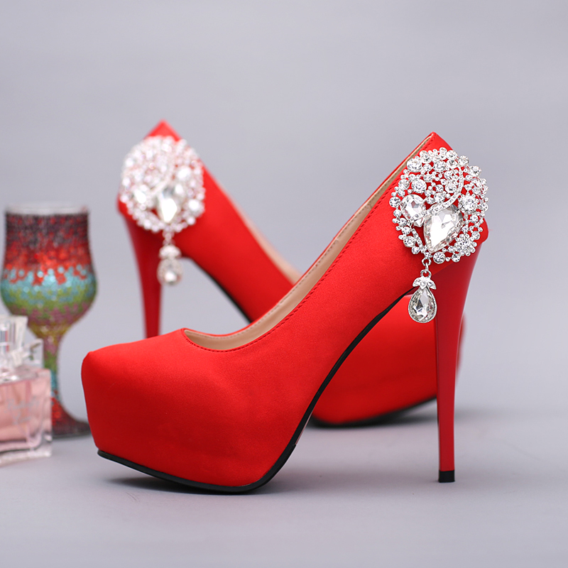 ФОТО Red Rhinestone drop pendant Bridal Shoes Ultra High Heels Thin Heels rose Crystal Wedding Shoes Women's Shoes Single Shoes Party