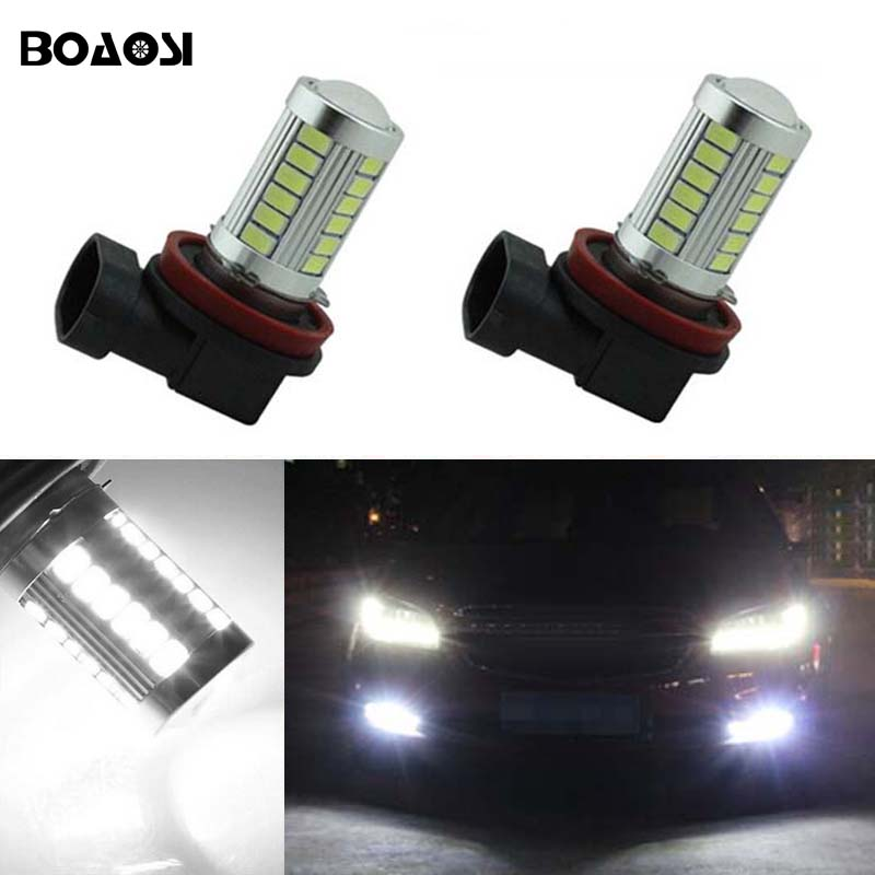 BOAOSI 2x H11 LED canbus Bulbs Reflector Mirror Design For Fog Lights For Chevrolet Cruze Camaro Sonic Spark Equinox 2013-2015 boaosi 1x h11 h8 led canbus bulbs reflector mirror design for fog lights no error for audi a3 a4 a5 s5 a6 q5 q7 tt
