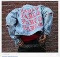 2016 Новые ТОП негабаритных Куртка Kanye West Я ЧУВСТВУЮ, КАК ПАБЛО Джинсовые пальто хип-хоп страх божий Четыре Два Четыре 424 сломанной отверстие жан