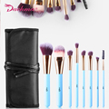 9pcs Oval High Quality Professional  Makeup Brush Set Kit  & Tools Soft Synthetic Hair Make Up Brushes Set With Beauty Bag