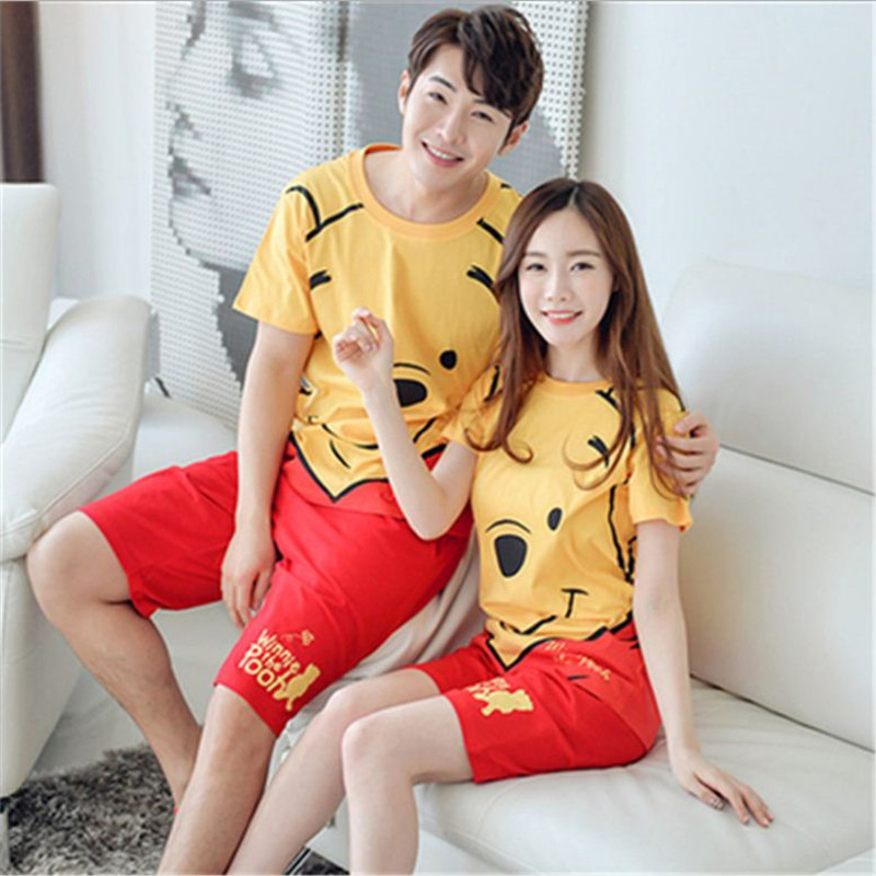 New Men/Women fashion cartoon printing Round Neck Short sleeved shorts Sleepwear Summer home clothes Couple Leisure Pajamas stes