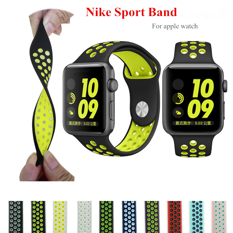 CRESTED Sport band for iwatch 3/2/1 strap rubber bracelet watchband for apple watch 42mm 38mm silicone watch strap crested sport band for apple watch 42mm 38mm bracelet strap iwatch nike 3 2 1 breathabe wrist watchband rubber watch band strap