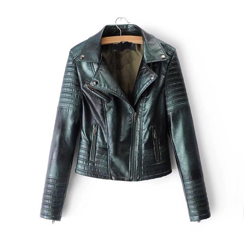 Hot Sale 2018 Autumn New Fashion Women Moto Jackets Turn-Down Collar Long Sleeve Streetwear Motorcycle Faux   Leather   Jacket