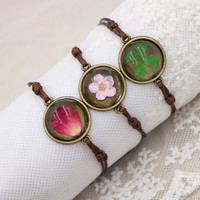 Flyleaf Handmade Natural Cherry Flowers Charm Bracelets For Women Vintage Style Lady Jewelry 3
