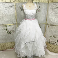 Lace Holy Communion Dresses 2017 Pageant Ball Gowns For Girls Wedding Gowns Kids White Pink Flower
