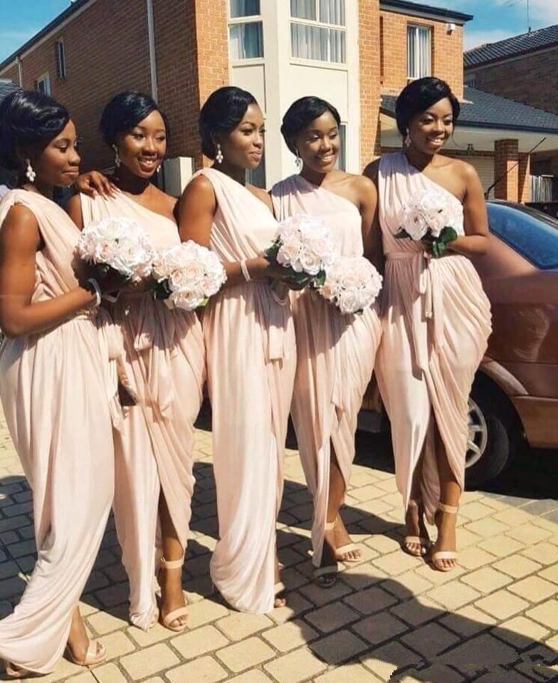 Elegant 2019 Cheap Bridesmaid Dresses Under 50 Mermaid One-shoulder Chiffon Long Wedding Party Dresses For Women