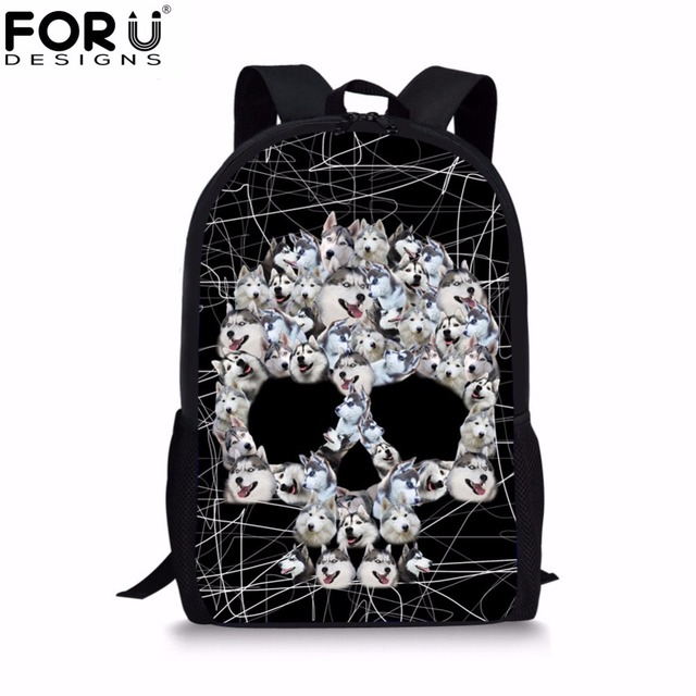 8fd6107f961d FORUDESIGNS Cool Skull Printing Canvas Men s Bags Cute Hursky Men Casual Backpack  School Backpack Bags for