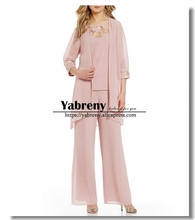 Pearl Pink Chiffon 3 PCS Outfit Mother of the bride pant suit With Jacket